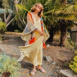 zara yellow & white pattern flowy maxi dress